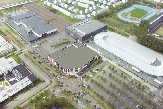 Aan het nieuwe kruispunt de Foodmarkt. Boven de nieuwe wijk Willemsbuiten, rechtsonder het parkeerterrein. Impressie Consortium Stappegoor Foodmarkt Stappegoor