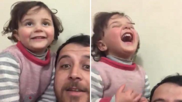 Hartverscheurend: Syrische vader lacht met dochtertje om bom