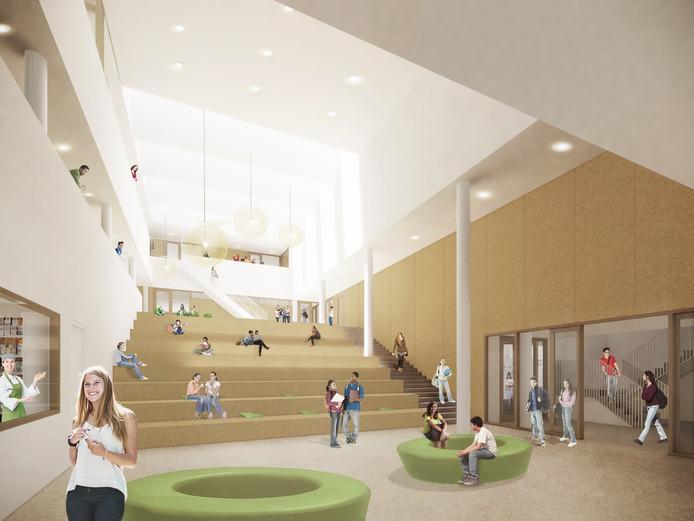 De aula van het nieuwe Actief College wordt een heel lichte ruimte.