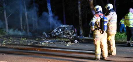 Zware crash op N237 bij De Bilt: auto knalt tegen boom en vliegt in brand