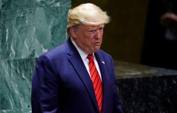 Donald Trump sreekt de Algemene Vergadering van de Verenigde Naties toe.