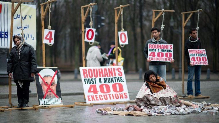 Iraniërs in Duitsland protesteren in 2013 tegen executies in Iran. Beeld AFP