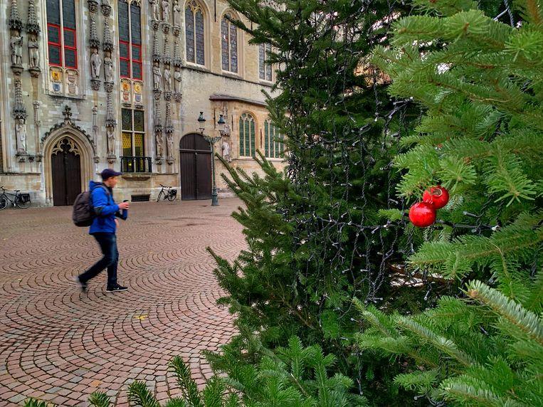 De eerste kerstballen in de boom op de Burg.