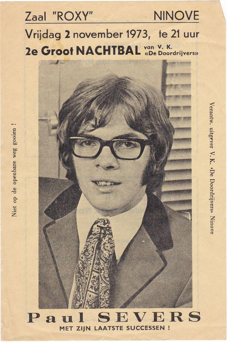 De affiche voor één van de eerste shows van Paul Severs in Ninove, in 1973.
