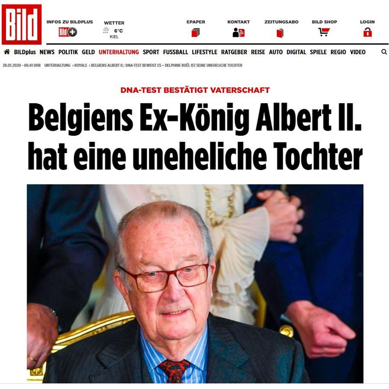 """Screenshot website Bild.de:""""Belgische oud-koning Albert II heeft onwettige dochter""""."""