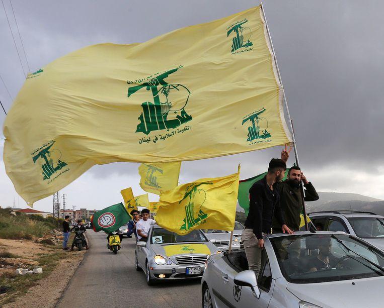Aanhangers van de sjiitische militie Hezbollah in Libanon.
