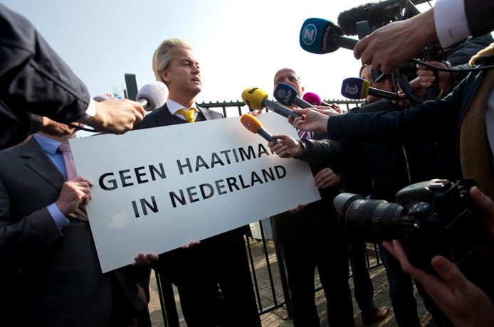 Geert Wilders tijdens een protestactie in 2015.