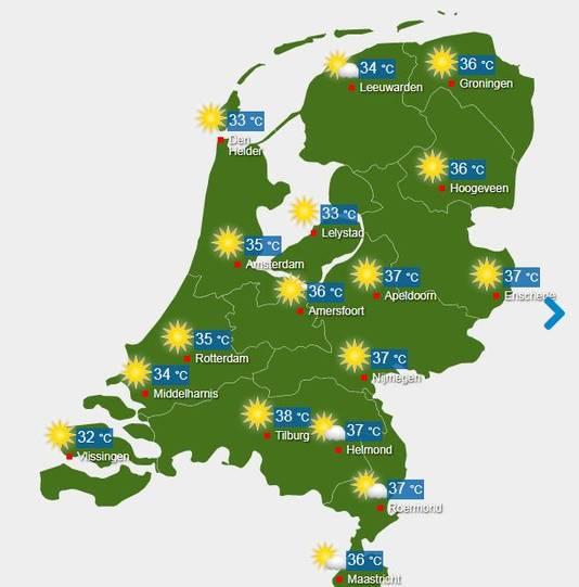 De temperaturen in Nederland op 26 juli 2018.