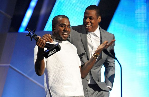 Kanye West and Jay-Z in 2012, toen alles nog koek en ei was.