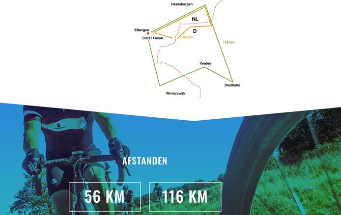 De routes van 56 en 116 km van de Euregio Gravel Ride