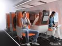Alle passagiers worden afgeschermd van elkaar door schermen.