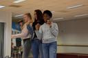 Repeteren voor Tilburg's Got Talent. Van links naar rechts: Farah, Isa en Favour.