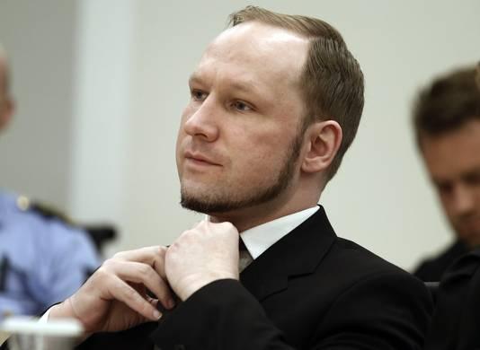 Anders Breivik tijdens zijn proces in 2012.