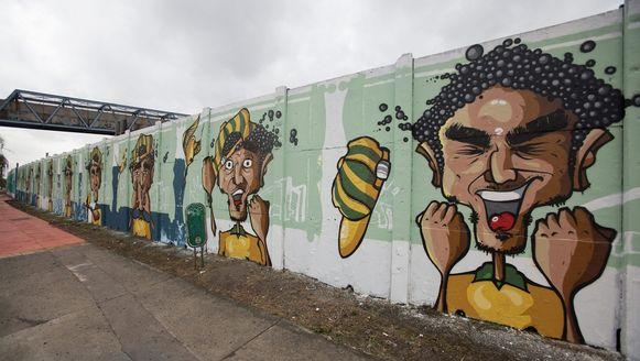 WK-graffiti in Brazilië.