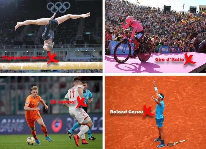 Vier grote sportevenementen die we komende zomer moeten missen.