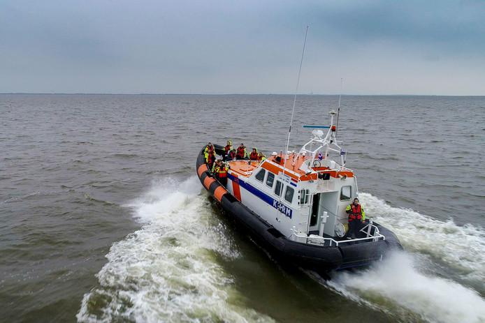 Een boot van de KNRM bij een eerdere uitruk.