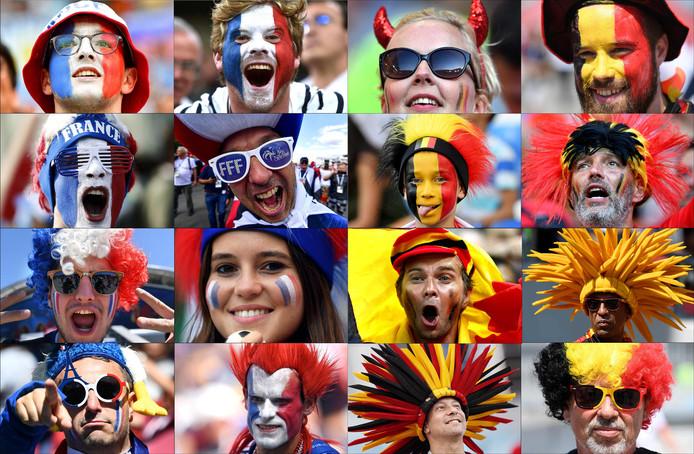 Fans van België en Frankrijk.