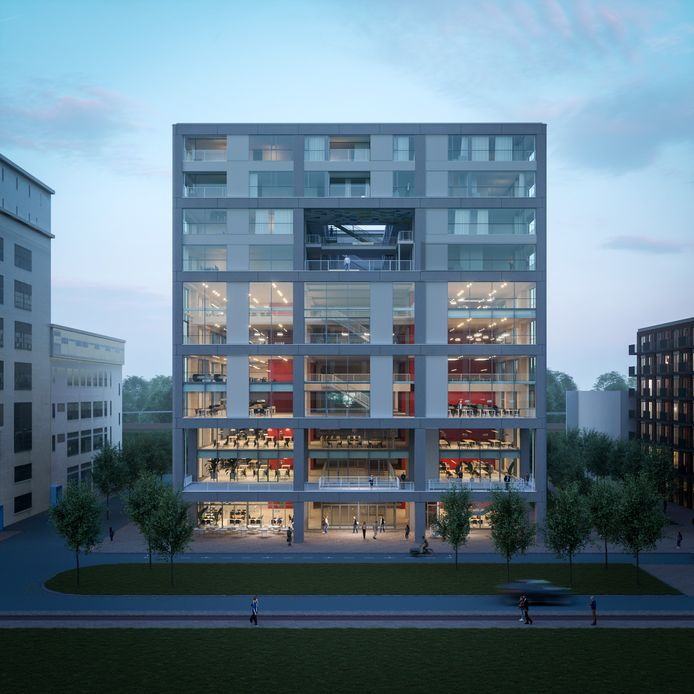 Een impressie van hoe gebouw Donna, naast het Klokgebouw op Strijp-S in Eindhoven, er uit kan gaan zien.