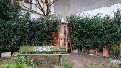 Roemeense daklozen bouwen houten hut voor kabinet PS