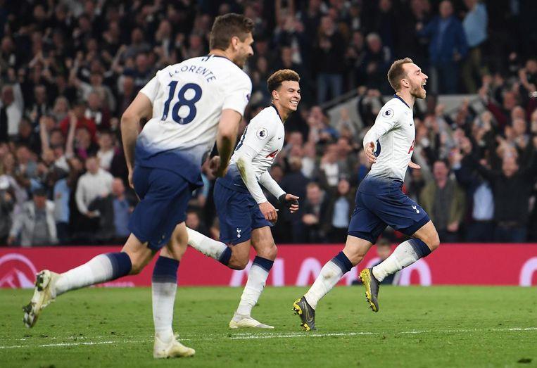 2019: Eriksen viert een goal, in het shirt van Tottenham. Beeld anp