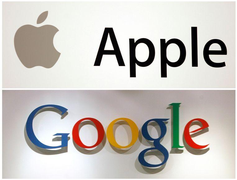 Logo's van twee Amerikaanse techreuzen die voor de helft 'gafa' zijn. Beeld REUTERS