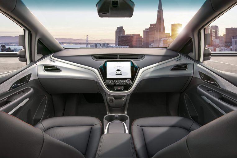 De Cruise AV van General Motors, ontworpen om veilig zelfstandig te rijden zonder bestuurder, stuur of pedalen.
