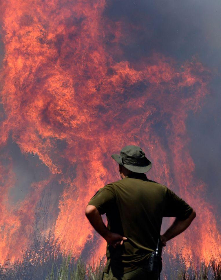 Een man bekijkt een bosbrand in Vilardevos, nabij Verin in het noordwesten van Spanje.