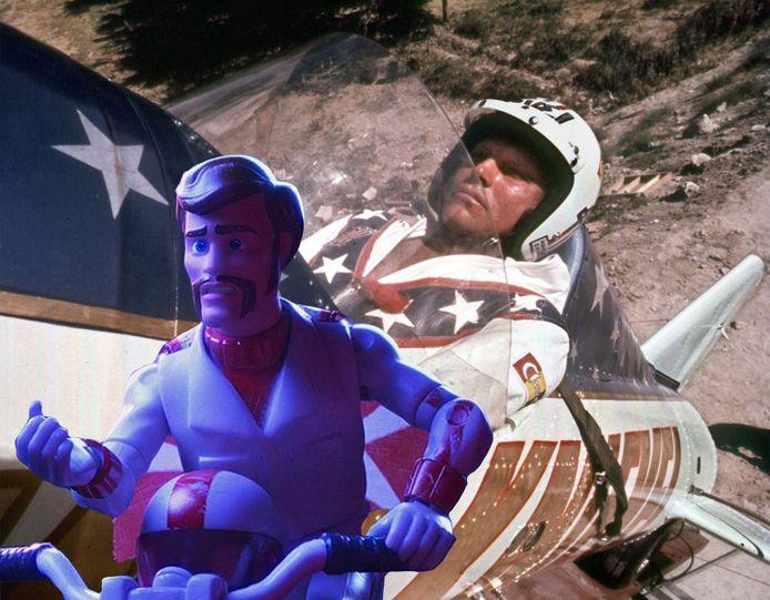 Lijkt het animatiefiguurtje Duke Caboom te hard op Evel Knievel?