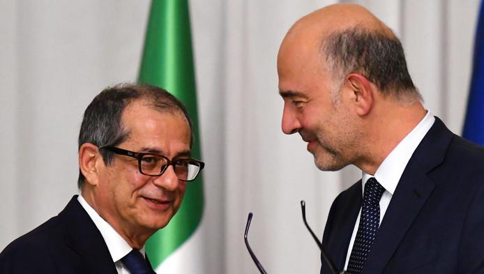 Giovanni Tria, ministre italien de l'Économie, et Pierre Moscovici, commissaire européen aux Affaires économiques et monétaires