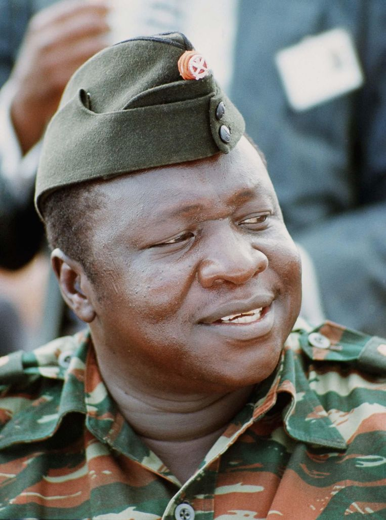 De voormalig Oegandese dictator Idi Amin in 1975 in Kampala. Beeld epa