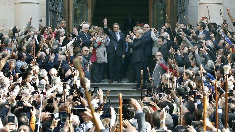 Artur Mas verlaat de rechtbank. Beeld EPA