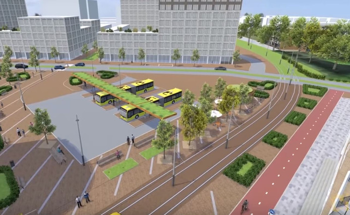 Impressie van stationsgebied City in Nieuwegein.