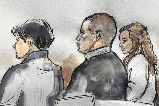 Andrei K. (midden) in de rechtszaal vandaag.