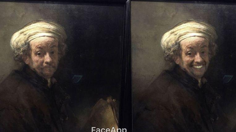 Een zelfportret van Rembrandt, origineel (l) en bewerkt. Beeld Bron: Twitter Olly Gibbs