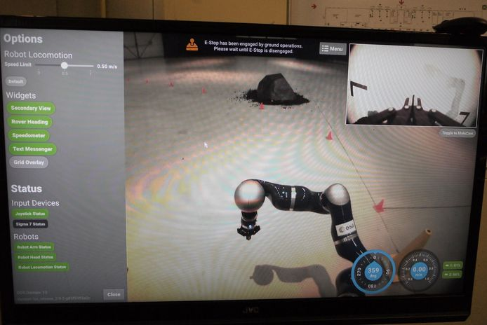 Screenshot van de bediening van de robotauto van ESA op afstand