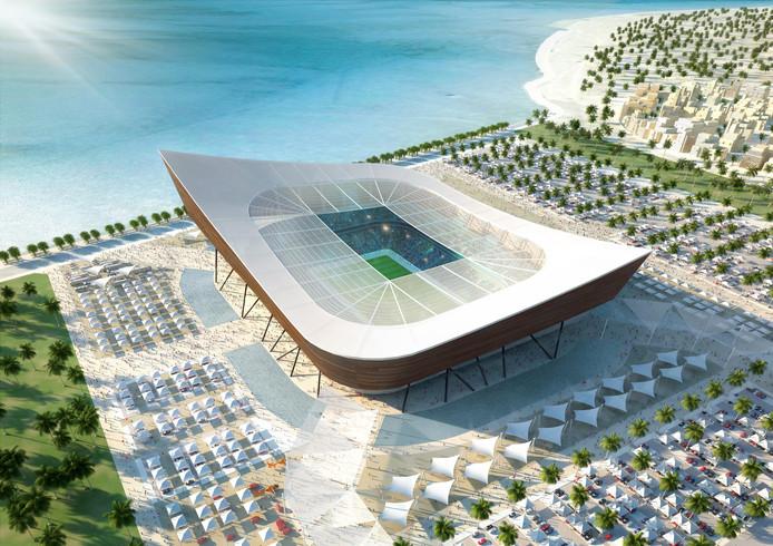 Een van de toekomstige WK-stadions in Qatar.