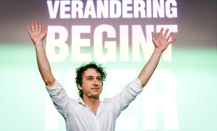Jesse Klaver van GroenLinks tijdens de uitslagenavond van de gemeenteraadsverkiezingen.