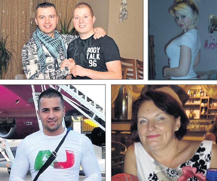 Een aantal van de betrokkenen bij de roof: hoofdverdachte Radu Dogaru met chauffeur Eugen Dairie, Dogaru's vriendin Natasha, moeder Olga Dogaru en handlanger Alexandru Bitu (foto's met de klok mee).