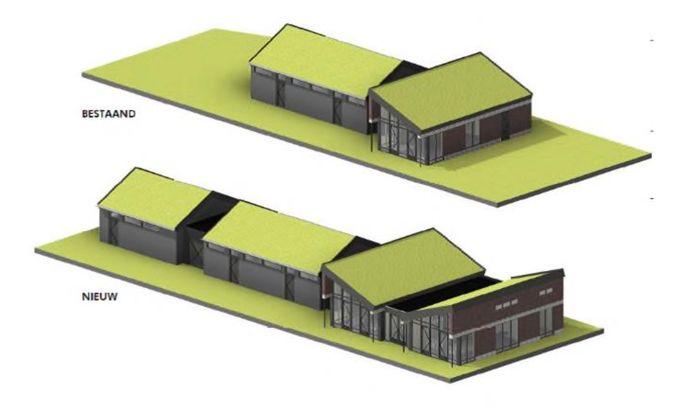 Scenario 1 gaat uit van uitbreiding van het bestaande complex van korfbalclub TOG.