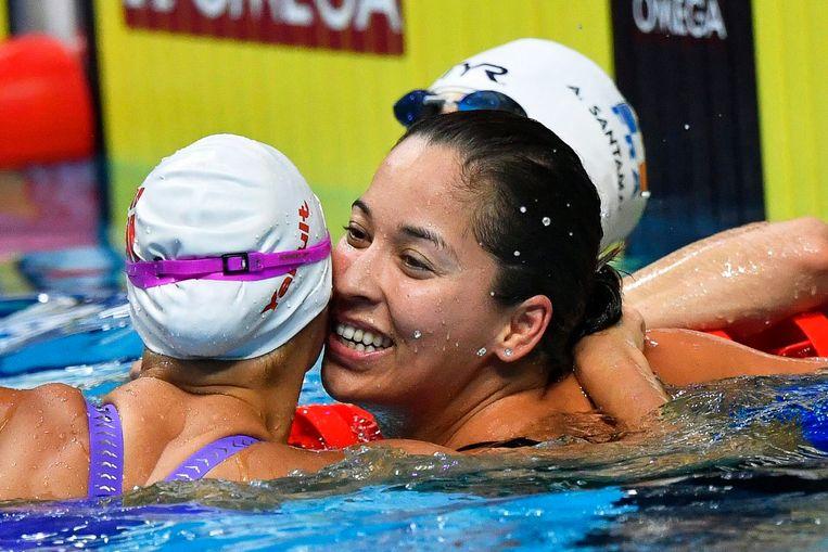 Ranomi Kromowidjojo zwom op de 50 meter vrij naar een waanzinnige tijd, die haar zilver opleverde. Beeld EPA