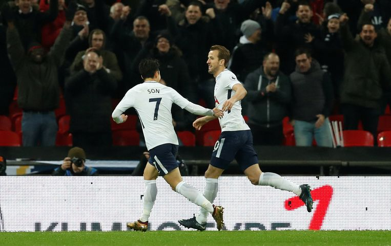 "Soccer Football - Premier League - Tottenham Hotspur vs Everton - Wembley Stadium, London, Britain - January 13, 2018   Tottenham's Harry Kane celebrates scoring their second goal with Son Heung-min           Action Images via Reuters/Matthew Childs    EDITORIAL USE ONLY. No use with unauthorized audio, video, data, fixture lists, club/league logos or ""live"" services. Online in-match use limited to 75 images, no video emulation. No use in betting, games or single club/league/player publications.  Please contact your account representative for further details."