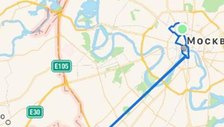 Een lekker stukje fietsen in Moskou (blauwe lijn) blijkt op de app plots een gigantische rit te zijn geweest. Beeld null