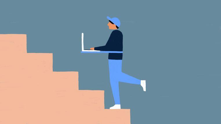 In plaats van naar de printer of een vergadering te lopen: ga een blokje om, doe een boodschap, loop desnoods een keer alle trappen in huis of van het flatgebouw op en af. Beeld Sophia Twigt