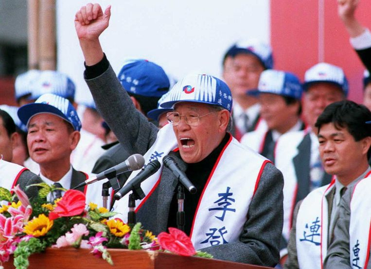 Maart 1996: Lee Teng-hui wordt president en roept op tot vrede. Beeld afp