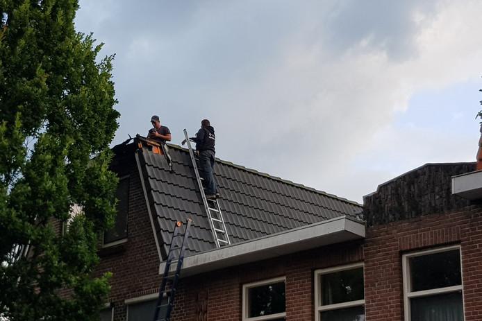 Brand na een blikseminslag in Vlaardingen.