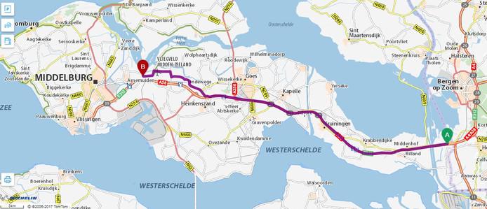 Via Michelin adviseert af te slaan bij Heinkenszand en via de Ankerveersedijk te rijden.
