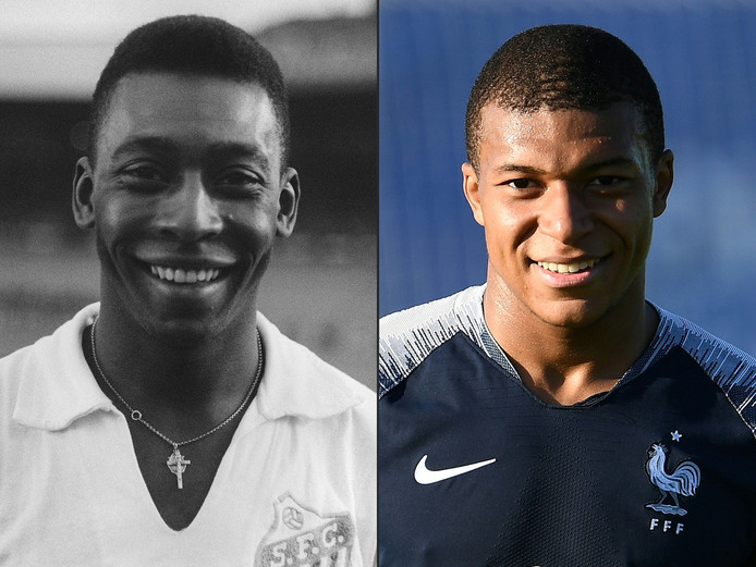 Pelé (l) e Kylian Mbappé