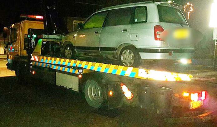 De auto werd in beslag genomen