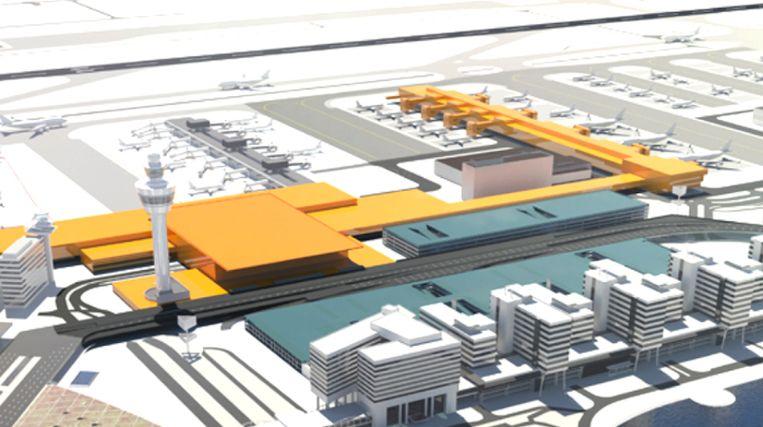 De nieuwe A-pier (rechtsboven) en de uitbreiding van de terminal (achter de verkeerstoren) op Schiphol Centrum. Op de voorgrond het bestaande WTC Schiphol. Beeld Schiphol