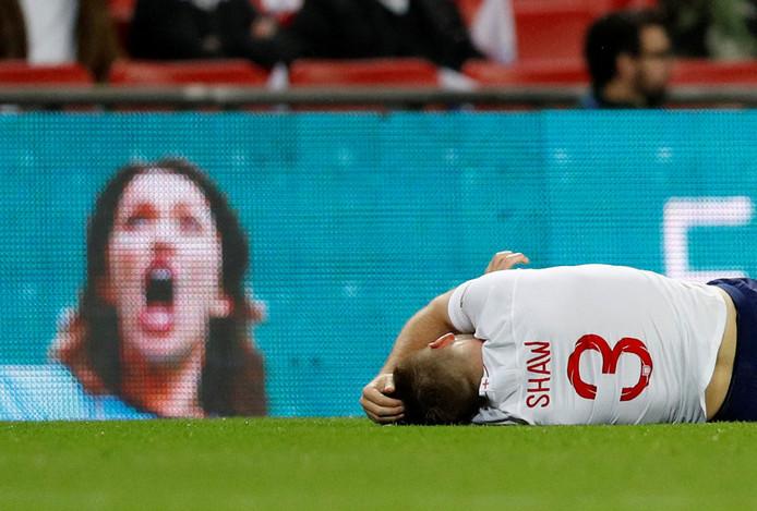 Luke Shaw liep zaterdag op Wembley een hersenschudding op na een botsing met de Spaanse rechtsback Dani Carvajal.